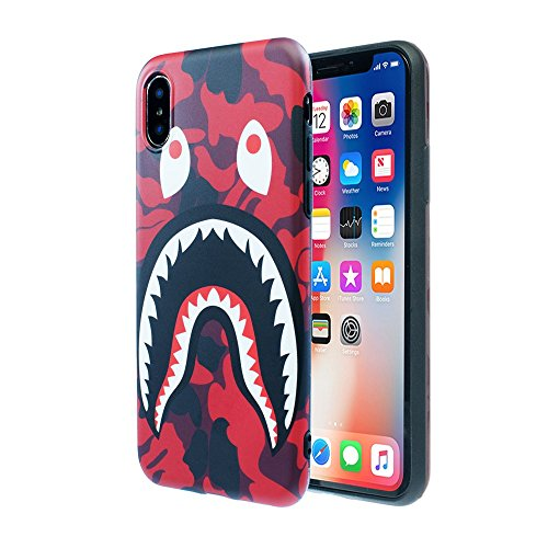 Case for iPhone Xs Max 2018: Shark Face Case Street Fashion Luxury Flexible Durable Designer Protective TPU Cover/Bumper/Skin/Cushion with Wrist Strap (fits 6.5