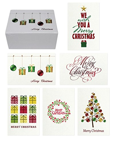 48 christmas cards bulk assortment set 6 unique merry christmas designs with blank inside - Cheap Christmas Cards In Bulk