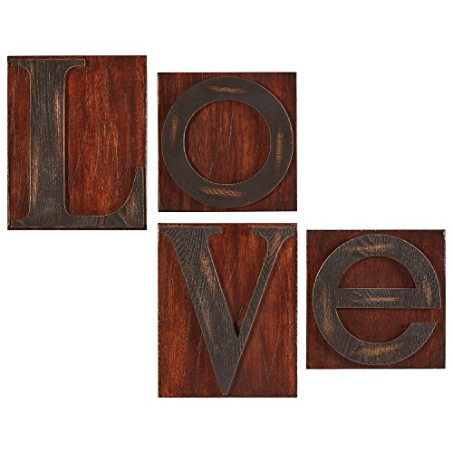 Stone & Beam Modern Love Woodblock Wall Art, 20