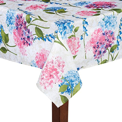 Elrene Ophelia Spring Fabric Tablecloth, Blue and Pink Floral (52-inch x 52-inch square)