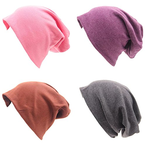 JOYEBUY 4 Pack Women Men Stylish Cotton Beanie Cap Slouchy Beanies Hats Soft Sleep Cap (Style E) by JOYEBUY