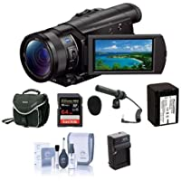 Sony FDR-AX100 4K Ultra HD Camcorder with 1inch Exmor R CMOS Sensor - Bundle with 64GB Class 10 Card, Video Bag, Spare Battery, Spare Charger, Pro-24CM Stereo Condenser Mic with Camera Shoe Mount