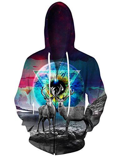 RAISEVERN Unisex Galaxy Starry Elk Geometric Print Full Zip Front Casual Drawstring Hoodie Sweatshirt Large