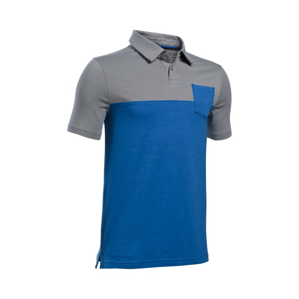 Under Armour Boys' Charged Cotton Blocked Polo, Ultra Blue (907)/Ultra Blue, Youth X-Small by Under Armour