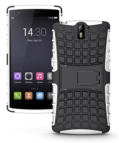 Mobico Rugged Armor Heavy Duty Hard Case for OnePlus One with Built in Stand (WHITE)