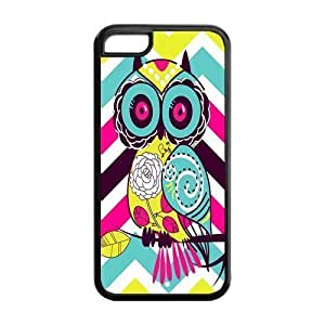 LINMM58281iphone 5/5s Phone Cases, Colorful Chevron Patterned Owl Hard TPU Rubber Cover Case for iphone 5/5sMEIMEI