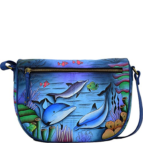 Anna By Anuschka Hand Painted Designer Leather Handbags for Women -Medium Crossbody - Playful Dolphins (Hand Drawn Shoes)