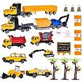 Construction Toys,21 PCs Construction Birthday Party Supplies Construction Vehicles ,Construction Trucks, Bulldozers, Dump Truck, Asphalt Car Excavator, Construction Road Sign …