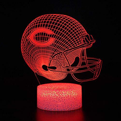 Bigfoot 3D LED Night Light Football Helmet Chicago Bears Flat Acrylic Illusion Lighting Lamp with 7 Colors and Touch Sensor, Sports Fan Nightlight Gift for Kids, Boys, Girls, Men or Women