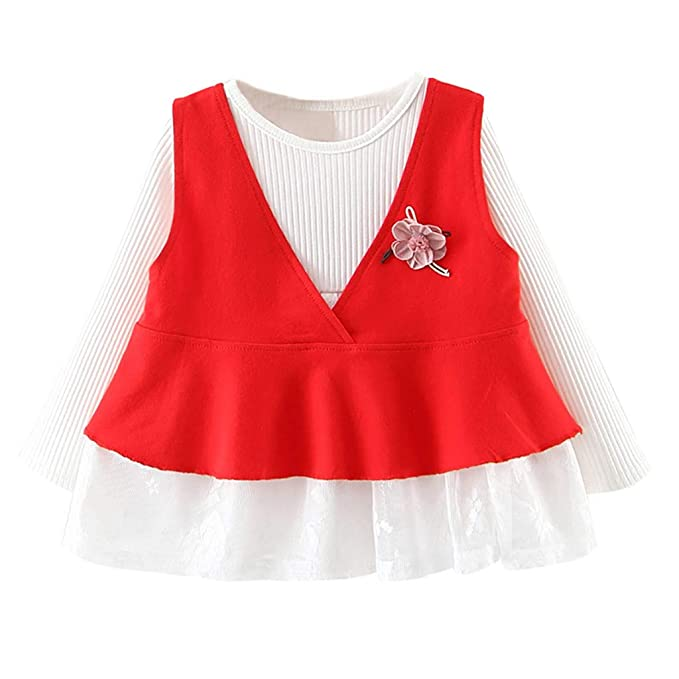 Mitlfuny Primavera Verano Bebé Conjunto Princesa Faldas Ropa para Niña Chaleco + Vestido de Punto Manga Larga 2 Piezas Cumpleaños Fiesta Vestidos Niñas ...