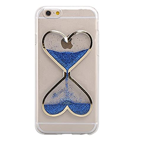 IKASEFU Clear Transparent Rubber Case for iPhone 4/4S,Cute Novelty Heart Shape Flowing Sand Slim Fit Clear Gel Liquid Case Cover for iPhone (Personalized Iphone 4s Phone Case)