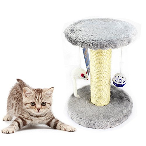 Geekercity Pet Cat Funny Scratching Post Climbing Tree with Hanging Ball and Mouse | Durable Pet Cats Scratching Pad | Cat Furniture Scratchers Platform Kitten House Hammockn (Grey) (Angled Q Tips)