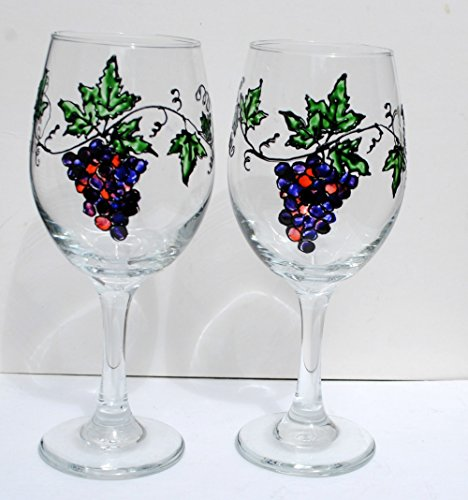 Purple Grape Vine Hand Painted 20 oz Stemmed Wine Glasses (Set of 2)