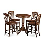 East West Furniture EDCH5-MAH-W 5 Piece High Top Table and 4 Kitchen Bar Stool Set