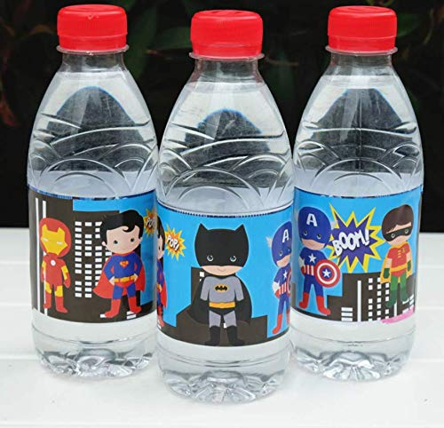 (Astra Gourmet Superhero Bottle Wraps - 24 Superhero Water Bottle Labels - Superhero Party Decorations)