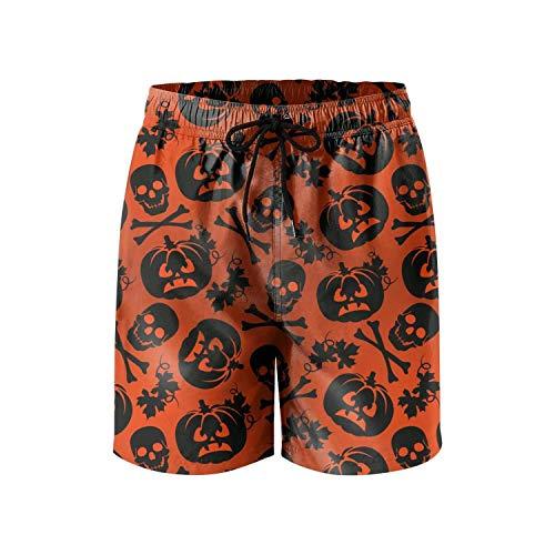 Men's Boardshorts Skull Pumpkin Halloween String Lights Quick Dry Bathing Suits Mesh Lining Beach Board Shorts -