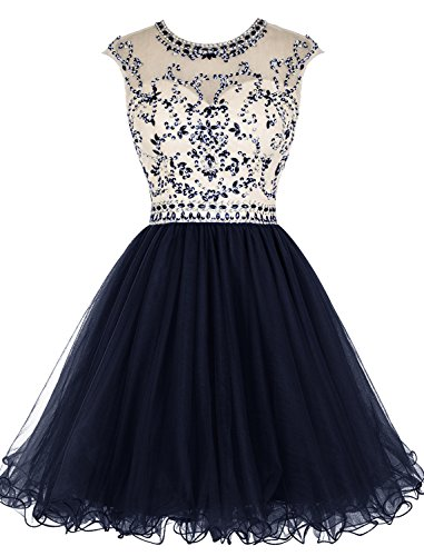 Beaded Homecoming Dress Short Tulle Prom Cocktail Gowns Hollow Back Navy US14 ()