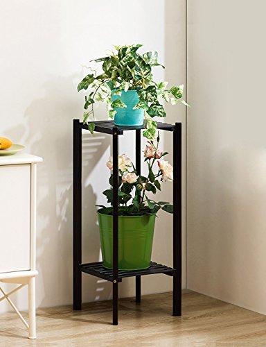 Echotang Bamboo Flower Rack Multilayer Flowerpot Display Rack Flower Shelf, Light Brown (Color : Black 2 tier) by Echotang