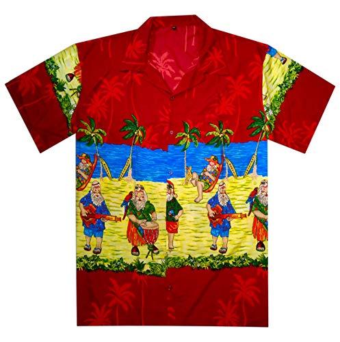 Red Christmas Santa - Christmas Hawiian Shirt for Men/Women Santa Claus Party Vacation Beach Red Shirt