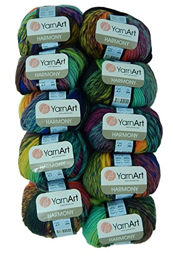 Bulk Buy Yarn Art Harmony 10-Ball Lot Medium #4 Worsted Wool Acrylic Blend (Harmony A7)