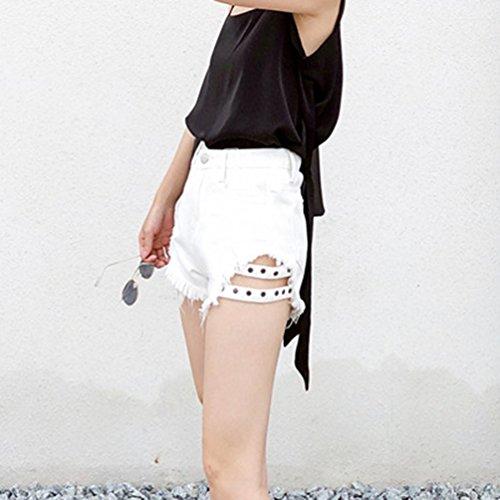 Shorts Denim Pantalons Hotpants Xinwcanga Chaude Ripped Glands Jeans Blanc Cowboy Irrgulire Taille Haute Femme 1gfSU