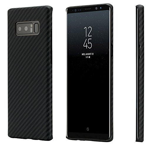 Galaxy Note 8 Case, PITAKA Magcase Aramid Fiber[Real Body Armor Material] Phone Case,Slim fit Strongest Durable Snugly Fit Snap-on Phone Cover Case for Samsung Galaxy Note 8-Black/Grey(Twill)