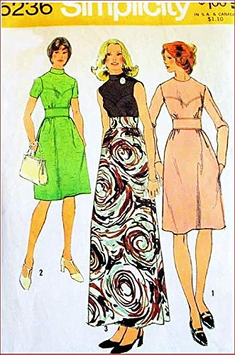 (Simplicity 5236 Misses Boho, MOD, Maxi Dress Vintage 70's Sewing Pattern)