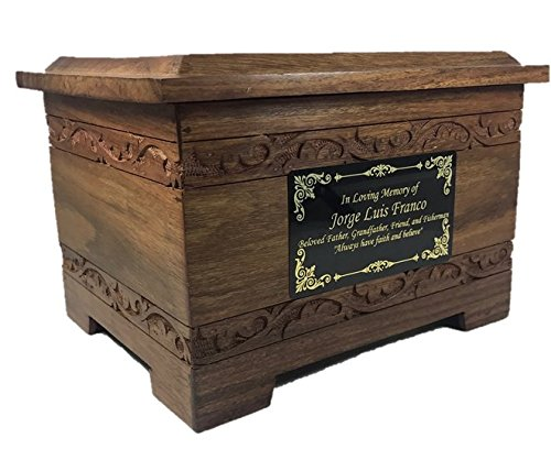 - NWA Urns for Human Ashes, Adult Size Hard Wood Hand Carved Human Cremation Urn - Custom Engraved