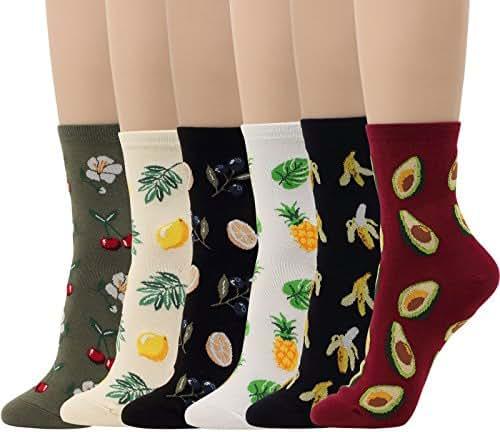 6 Pairs Fruits Socks Lemon Tree Banana Cherry Avocado Pineapple Women Girl Novelty