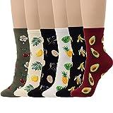 6 Pairs Fruits Socks Lemon Tree Banana Cherry Avocado Pineapple Women Girl Novelty Design (Fruits - 6 Pairs)
