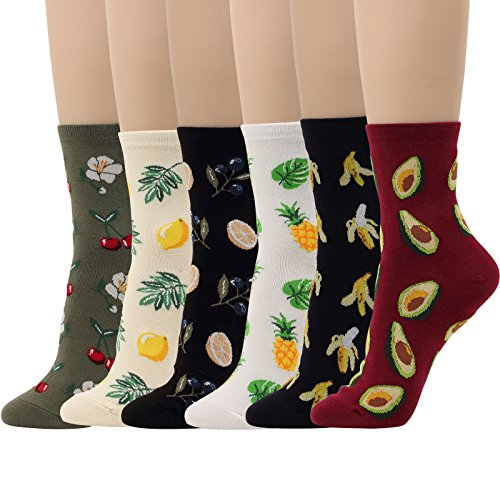 6 Pairs Fruits Socks Lemon Tree Banana Cherry Avocado Pineapple Women Girl Novelty Design (Fruits - 6 Pairs)