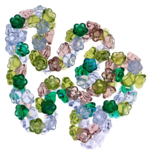 Pressed Glass Flower Beads - 4