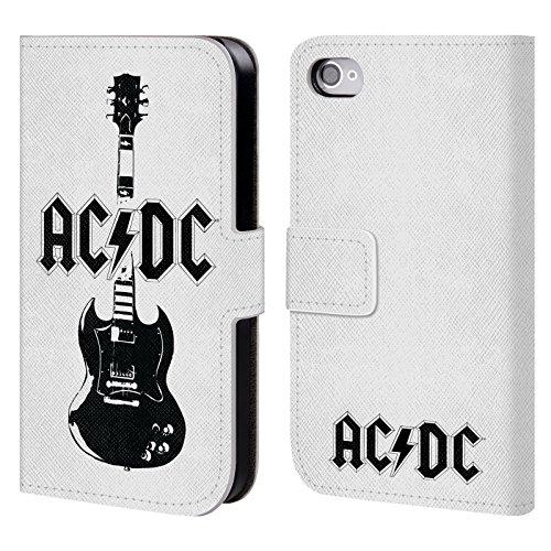 Officiel AC/DC ACDC Guitare Principale Iconique Étui Coque De Livre En Cuir Pour Apple iPhone 4 / 4S