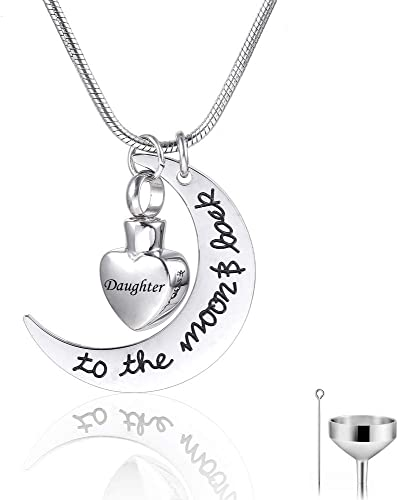 HQ Stainless Steel Cremation Jewelry Urn Necklace for Ashes Round Pendant with Personalized Engraved
