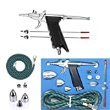 single action airbrush gun - Gocheer Professional Airbrush Paint Sprayer Action Spray Gun Single-Action Trigger with Hose 3 Tips 2 Cups for Art Painting Tattoo Manicure Spray Model Air Brush Nail Tool