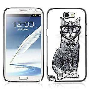A-type Arte & diseño plástico duro Fundas Cover Cubre Hard Case Cover para Samsung Galaxy Note 2 II / N7100 ( Gato divertido Hipster Sofisticado )