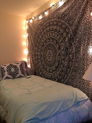 Popular Handicrafts Large Black & White tapestries Hippie elephant mandala tapestry wall hangings Indian Bedspread wall art bohemian tapestry 84x90 Inches,(215cmsx230cms) By Popular Handicrafts