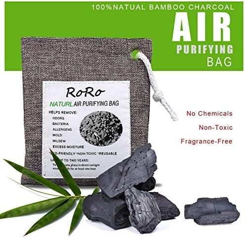 sacchetti deodoranti per auto 2Pack deodorante per scarpe e assorbi-odori per armadi Sacchetti per la purificazione dellaria al carbone attivo in bamb/ù naturale Rongrong guardaroba e cassetti