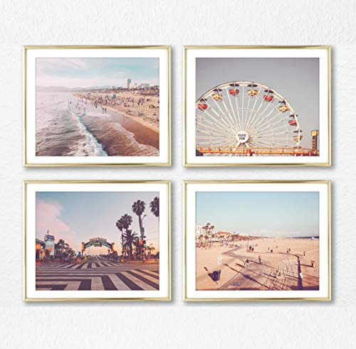 - Santa Monica & Venice Beach Photography Photographic Prints, Set of 4, Unframed, Ferris Wheel, Pacific, Beach Walk, Boardwalk Art Decor Poster Sign, 8x10 Inches