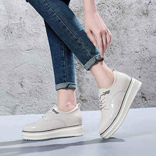 leather and shoes autumn shoes with muffin Ladies winter thick In slope and shoes small is AJUNR the sole shoes fashionable Women's Beige Work Yxw6pR