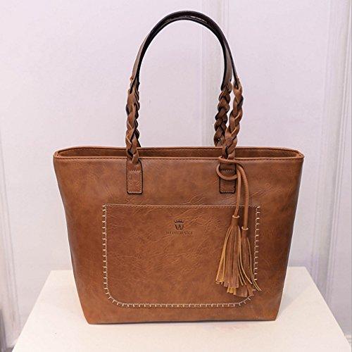 Rurah Vintage Messenger Bags With Tassel Handbags Large Capacity Women Bags Shoulder Tote Bags For Women 1pcs Brown