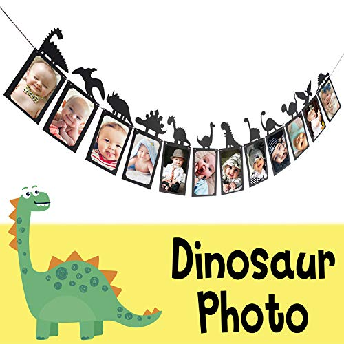 Dinosaur Party Happy Birthday Banner Sweet 1st Baby Shower Baby First Birthday Kids Bday Picture Photo Booth Personalized DIY Banner Party Decorations - Black -
