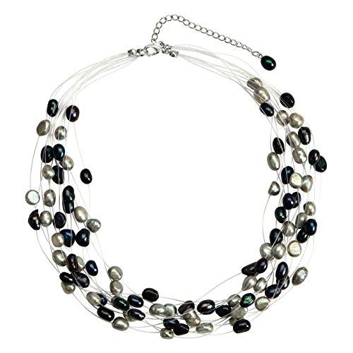 (Regalia Multi Strand Baroque Multi-Black Freshwater Cultured Pearl Floating Necklace)
