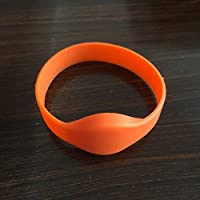 YARONGTECH-13.56MHZ ISO14443A HF MIFARE Classic 1K Orange color NFC Silicone rfid wristband Pack of 5
