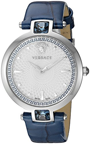 Versace Women's Crystal Gleam Stainless Steel Swiss-Quartz Watch with Leather-Calfskin Strap, Blue, 18 (Model: ()