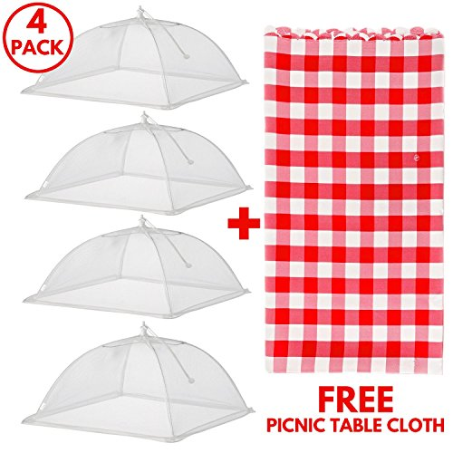 Premium Food Tent Covers Net Umbrellas with FREE PICNIC TABLECLOTH (4 Pack) for Outdoors Screen Pop Up Mesh Protectors For Bugs Parties BBQs Picnics Reusable Collapsible and - Net Picnic Tent With