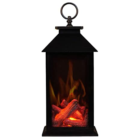 Black Rectangle Battery Operated and USB Operated Fireplace Lanterns,Decorative Lanterns,Flameless Led Lantern 6 Hour Timer Included,Portable Fireplace Lantern-Indoor//Outdoor,