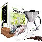 EasyR Home Pour Over Brewer – 14oz Coffee Maker Of Superior Tasting Coffee, Includes Reusable Stainless Steel Filter, Glass Lid and Free Neoprene Pot Warmer to Keep Coffee Hot For Sale