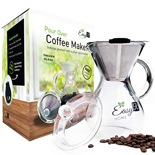 - EasyR Home Pour Over Brewer - 14 oz Borosilicate Glass Coffee Maker with Reusable Paperless Stainless Steel Filter/Dripper, Glass Lid and Free Carafe Warmer to Keep Coffee Hot