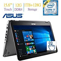 Newest ASUS 15.6-inch Touchscreen 1080p FHD 2-in-1 Convertible Laptop PC, 7th Gen Intel Core i7-7500 2.7GHz, 12GB DDR4, 1TB + 128GB SSD Hard Drive, Bluetooth, NVIDIA 940MX Graphics, Windows 10